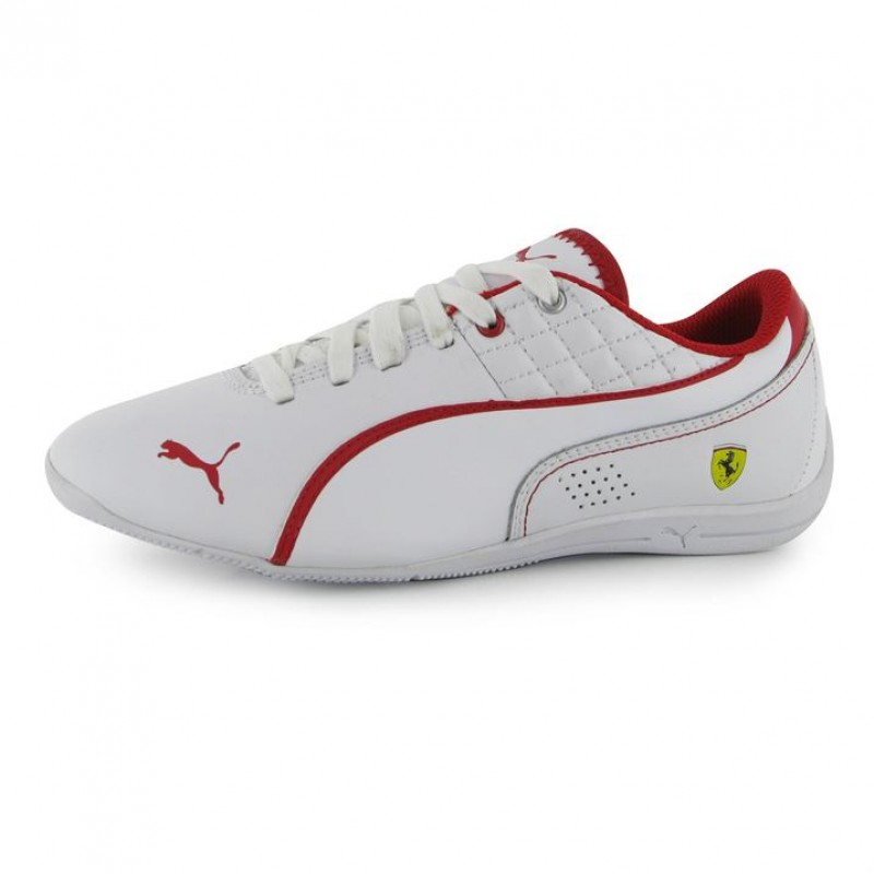 5cf2d4c33c8 Puma дамски юношески маратонки Puma D Cat Scuderia Ferrari Junior Trainers  Пума детски естествена кожа бели червени