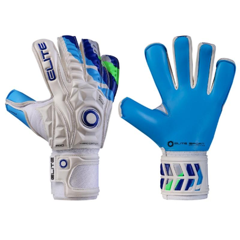 2a23bbc38e5 ELITE AQUA-H вратарски ръкавици с новия топ латекс на Елит спорт за дъжд  бели сини професионални 4 мм латекс