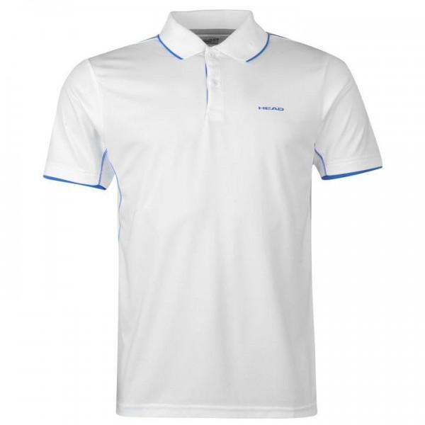 HEAD Club M мъжка спортна тениска с якичка и копчета за тенис на корт оригинална блуза с къс ръкав Polo Mens бяла синя