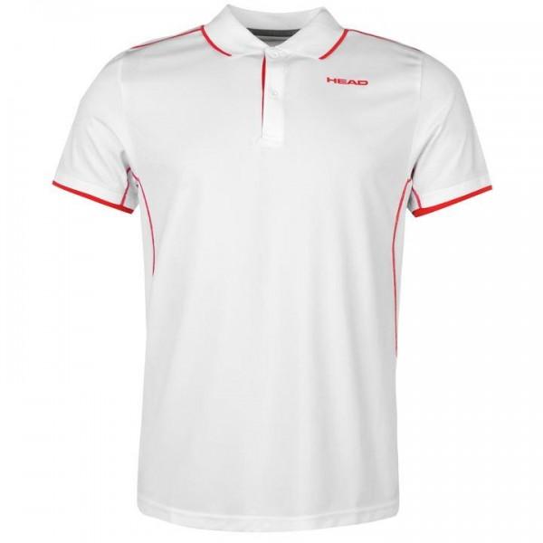 HEAD Club M мъжка спортна тениска с якичка и копчета за тенис на корт оригинална блуза с къс ръкав Polo Mens бяла червена
