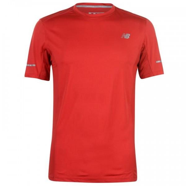New Balance Core червена мъжка тениска Run Tee SnrC99  полиестер оригинална